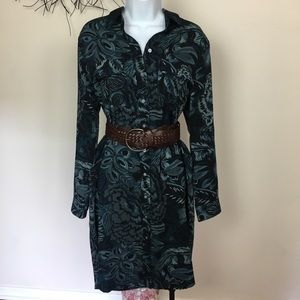 Blue floral long sleeve shirt dress. LOFT LARGE